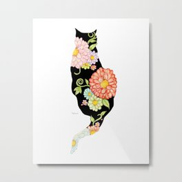 Exotic Floral Black Cat Silhouette Metal Print