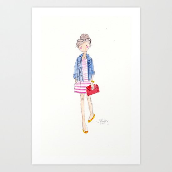 Pink Stripes + Denim Jacket Art Print