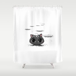 Lost Cat In The Snow Shower Curtain