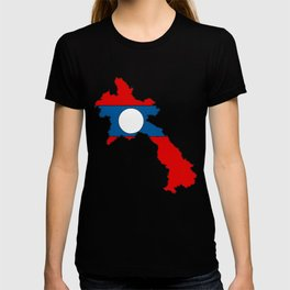 Laos Map with Laotian Flag T-shirt