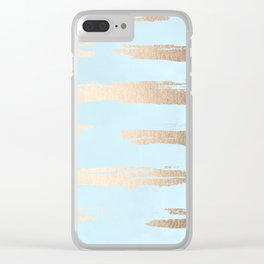 Abstract Paint Stripes Gold Tropical Ocean Sea Turquoise Clear iPhone Case