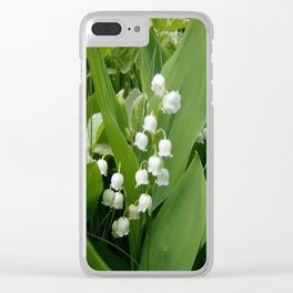 Pure White Lily of the Valley Flower Macro Photograph Clear iPhone Case