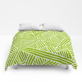 Abstract apple green & white Lines and Triangles Pattern-Mix and Match with Simplicity of Life Comforters