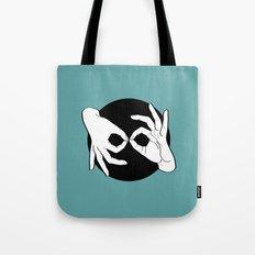 Sign Language (ASL) Interpreter – White on Black 12 Tote Bag