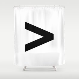 Greater-Than Sign (Black & White) Shower Curtain