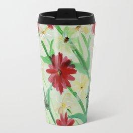 Daisies Butterflies Katydid Red Green and White Travel Mug