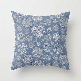 Merry Christmas- Abstract christmas snow star pattern on fresh grey  I Throw Pillow