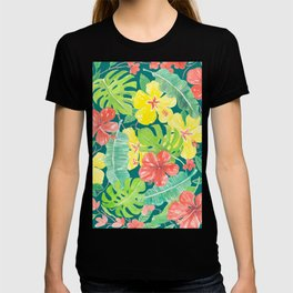 Tropical garden, hibiscus plumeria and palm leaves T-shirt