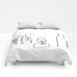 Camping Supplies Black and White Digital Design Comforters