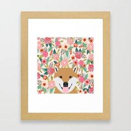 Shiba Inu floral dog face cute peeking shiba inus gifts Framed Art Print