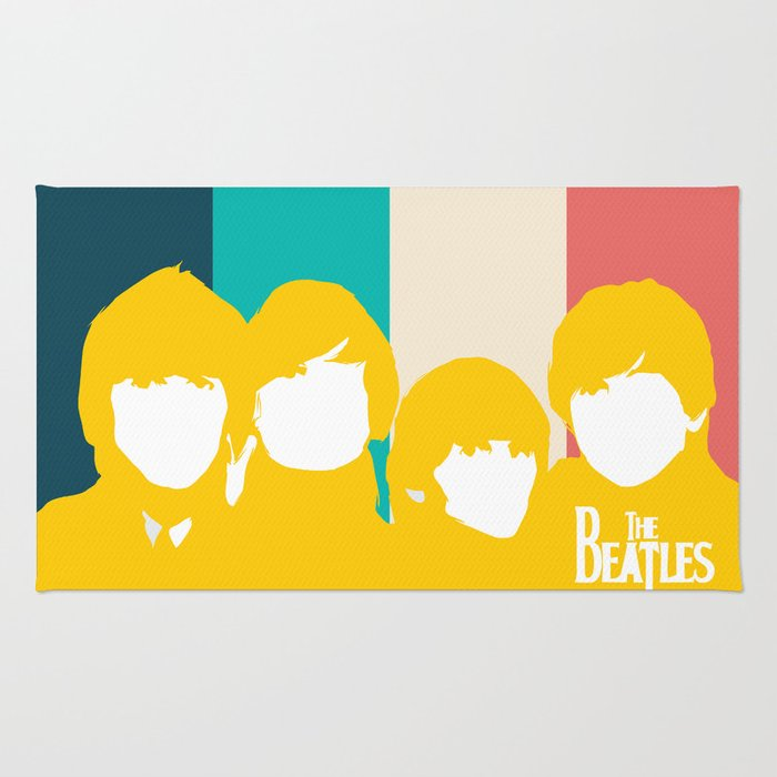 Lab No. 4 - Minimalist Character of Rock Band Motivational quotes Poster Rug