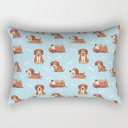 beagle puppy In Blue Rectangular Pillow