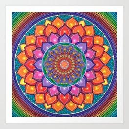 Lotus Rainbow Mandala Art Print