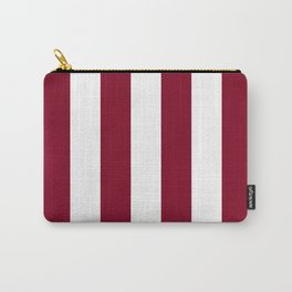 Vertical Stripes - White and Burgundy Red Carry-All Pouch