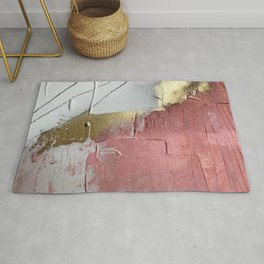 Darling: a minimal, abstract mixed-media piece in pink, white, and gold by Alyssa Hamilton Art Rug