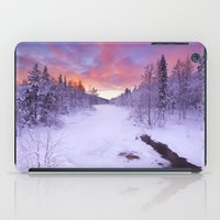 levi iPad Cases featuring I - Sunrise over a river in winter near Levi, Finnish Lapland by Sara Winter
