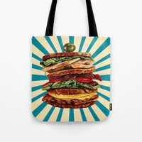 catcher in the rye Tote Bags featuring Turkey Club on Rye by Kelly Gilleran