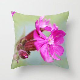 Red campion flower Throw Pillow