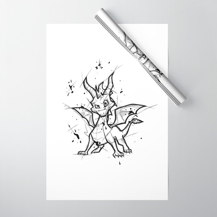 drawing games on paper Spyro Handmade Drawing Made In Pencil And Ink Tattoo Sketch Videogames Art Wrapping Paper By Lucagenart