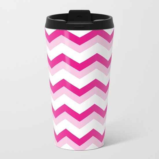 Pink & White Chevron Pattern - Zig Zag for your summer Metal Travel Mug