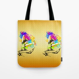 Hip hop dancer jumping Tote Bag