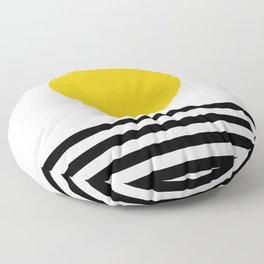 Midcentury Yellow Minimalist Sunset With Black Stripes Floor Pillow