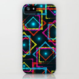 Bright rhombuses and squares with blue highlights in the intersection on a dark background. iPhone Case