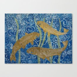 Gold Painted Paper Mosaic Fish Canvas Print
