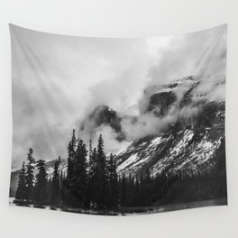 Smokey Mountains Maligne Lake Landscape Photography Black and White by Magda Opoka Wall Tapestry
