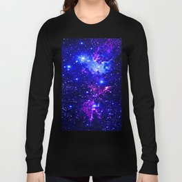 Fox Fur Nebula Galaxy blue purple Long Sleeve T-shirt
