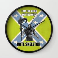 skeletor Wall Clocks featuring Vote Skeletor by Itomi Bhaa
