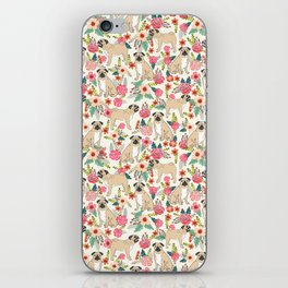 Pug floral dog breed pet pugs must have gifts for unique dog breed owners iPhone Skin