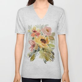 Good As Gold Watercolor Vintage Style Floral Unisex V-Neck