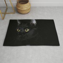 Black Cat Looking Away Photo Rug