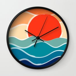Retro 70s and 80s Color Palette Mid-Century Minimalist Nature Waves and Sun Abstract Art Wall Clock
