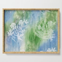 Cosmos Ferns Maples Blue Green Serving Tray