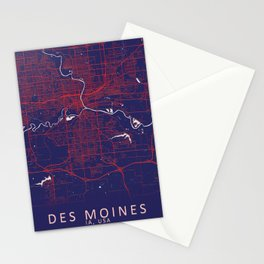 Des Moines, IA, USA, Blue, White, City, Map Stationery Cards