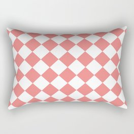 Diamonds - White and Coral Pink Rectangular Pillow