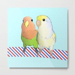 Cute lovebirds couple Metal Print