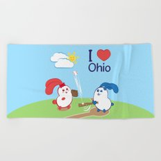 Ernest and Coraline | I love Ohio Beach Towel