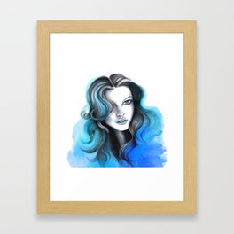 Aqua and Dark Blue Flame Hair Framed Art Print