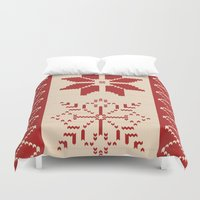 sweater Duvet Covers featuring Christmas Sweater by Minette Wasserman