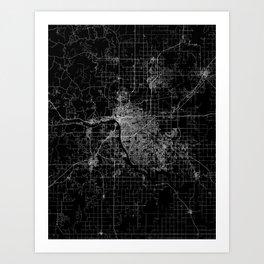 Tulsa map Oklahoma Art Print