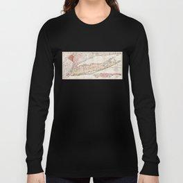 1842 Map of Long Island, New York Long Sleeve T-shirt