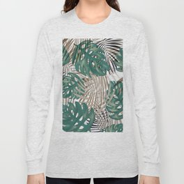 Tropical Leaves Nature Print Palm Fronds Long Sleeve T-shirt