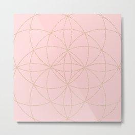 pink rose gold mandala pattern Metal Print