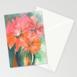 Fiery and Emerald Flowers Stationery Cards