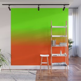 Neon Green and Neon Orange Ombré  Shade Color Fade Wall Mural