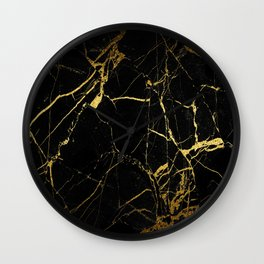 Black-Gold Marble Impress Wall Clock