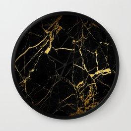 Black-Gold Marble Impress Wall Clock